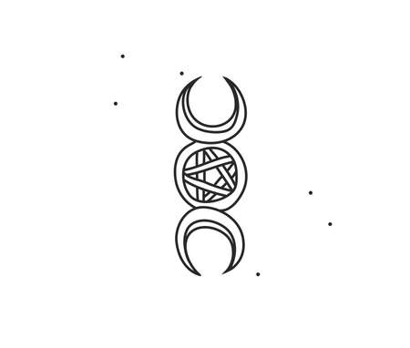 Hand drawn vector abstract stock flat graphic illustration with  element line art of mystic occult symbol,moon and stars in simple style for branding,isolated on white background