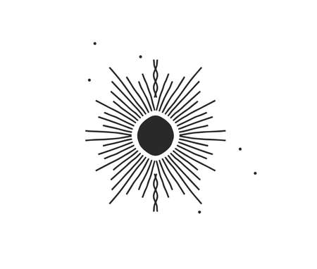 Hand drawn vector abstract stock flat graphic illustration with  element of magic celestial sun silhouette art in simple style for branding,isolated on white background