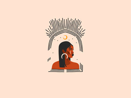 Hand drawn vector abstract stock flat graphic illustration with ethnic tribal black beautiful african american woman,sun and magic moon crescent in arch,simple style ,isolated on pastel background Illusztráció