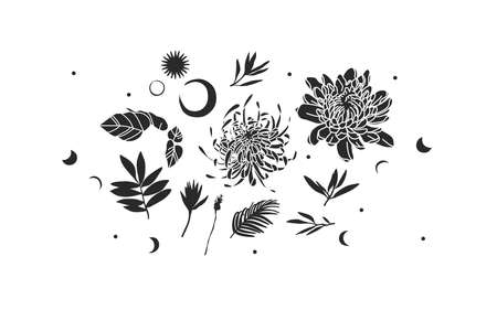 Hand drawn vector abstract stock flat graphic illustrations mystic icons collection set with  elements,magic sacred boho moon,stars,sun,flowers and leaves silhouettes isolated on white background