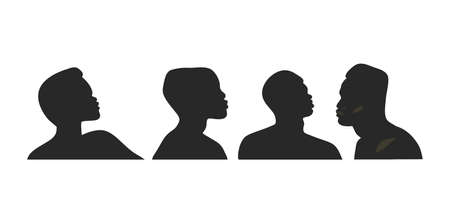 Hand drawn vector abstract stock flat graphic illustration with   element of african american person character silhouette art collection set in simple style isolated on white background