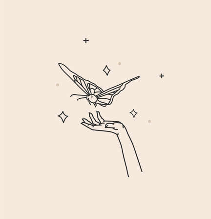 Hand drawn vector abstract stock flat graphic illustration with  element,bohemian magic art of butterfly and stars in witch woman hand,simple style for branding,isolated on color background 일러스트