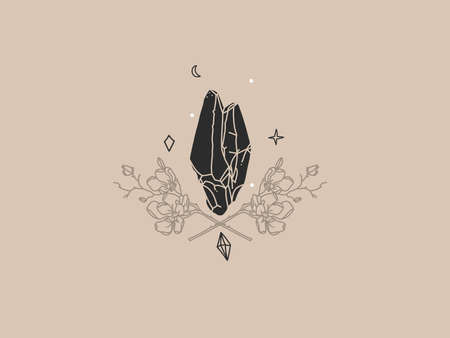 Hand drawn vector abstract stock flat graphic illustration with   element,bohemian magic logo of crystal silhouette,crescent and flowers in simple style for branding,isolated on color background.