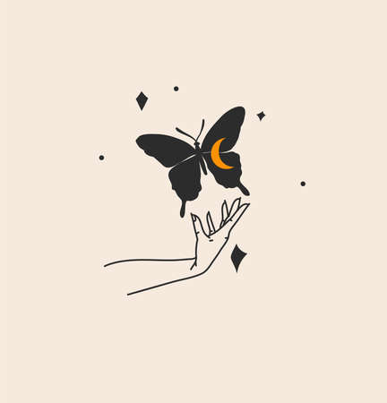 Hand drawn vector abstract stock flat graphic illustration with logo element,bohemian magic art of butterfly silhouette in witch woman hand,simple style for branding,isolated on color background