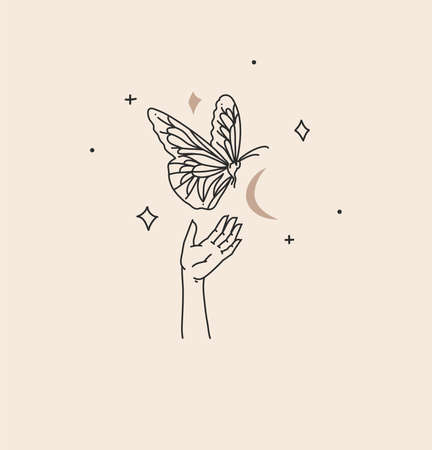 Hand drawn vector abstract stock flat graphic illustration with branding logo,bohemian celestial magic art of butterfly,crescent silhouette in woman hand,simple style,boho astrology feminine concept.