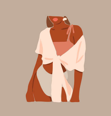 Hand drawn vector abstract flat graphic contemporary aesthetic fashion illustration with bohemian,modern african american female portrait in simple trendy minimal style isolated on pastel background.