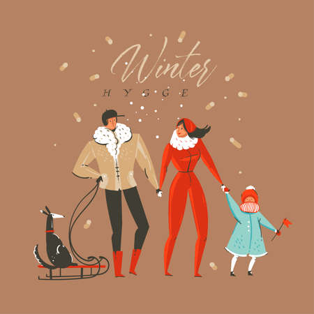 Hand drawn vector abstract fun Merry Christmas and Happy New Year time cartoon illustration greeting card with family characters and Winter hygge text isolated on brown background