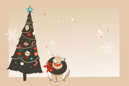 Hand drawn vector abstract fun Merry Christmas and Happy New Year time cartoon illustration greeting card with happy xmas dog,tree and copy space place for your text isolated on craft background
