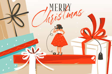 Hand drawn vector abstract fun Merry Christmas and Happy New Year time cartoon illustration greeting card with xmas surprise gift boxes,girl and Merry Christmas text isolated on craft background