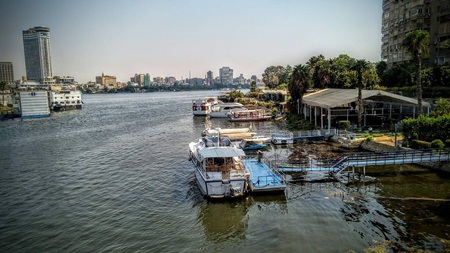 The Nile River in Cairo.. 스톡 콘텐츠