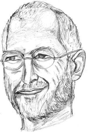 Steve Jobs Pencil Sketch Front Face