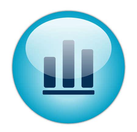 Glassy Aqua Blue Bar Graph Icon Stock Photo