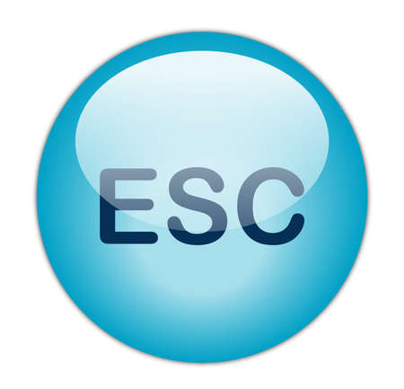 Glassy Aqua Blue Escape Button  Stock Photo