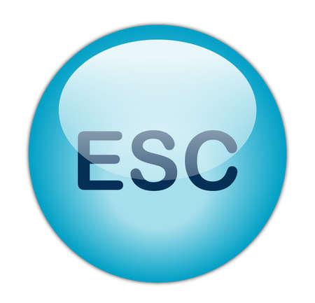 Glassy Aqua Blue Escape Button  Stock Photo - 13614342