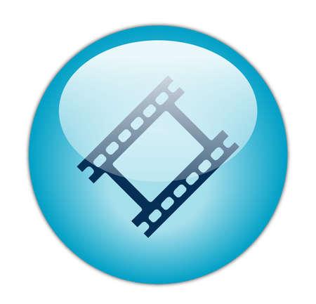Glassy Aqua Blue Film Strip Icon Button