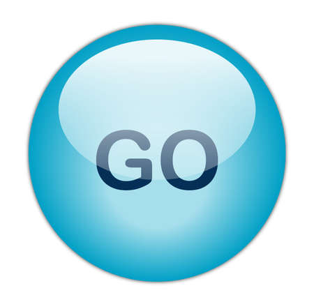 Glassy Aqua Blue Go Button Stock Photo - 13614283