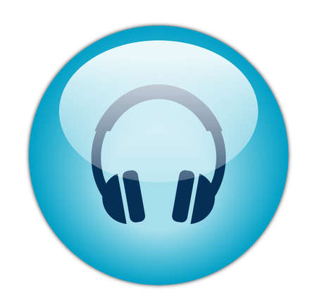 mp3 player: Glassy Aqua Blue Headphone Icon