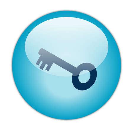 Glassy Aqua Blue Key Icon Stock Photo - 13614193