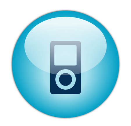 portable player: Glassy Blue Music Player Icon Button