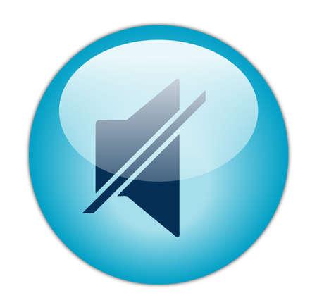 Glassy Aqua Blue Mute Icon