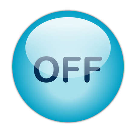 Glassy Aqua Blue Off Button Stock Photo - 13614190