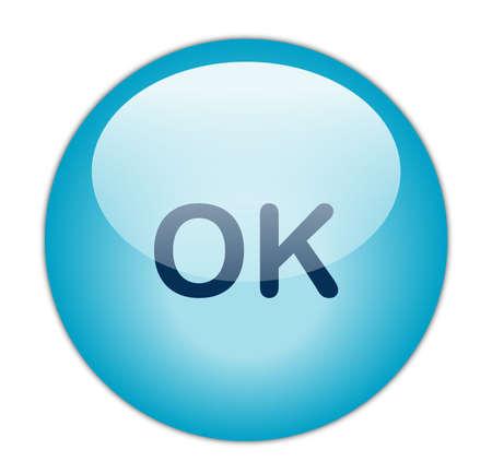 Glassy Aqua Blue OK Button Stock Photo - 13614285