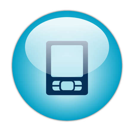 Glassy Aqua Blue PDA Icon Button Stock Photo - 13614183