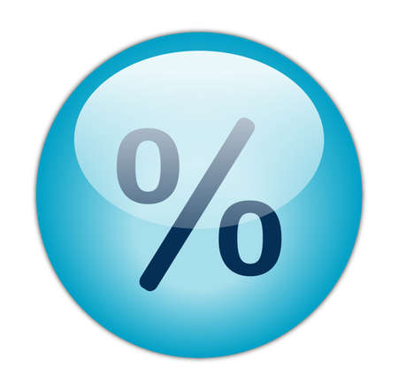 Glassy Aqua Blue Percent Icon Stock Photo