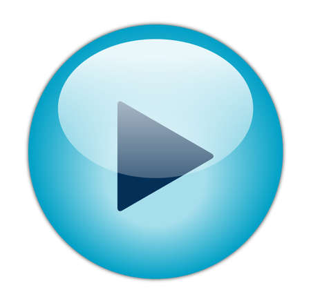 play button: Glassy Aqua Blue Play Icon  Stock Photo