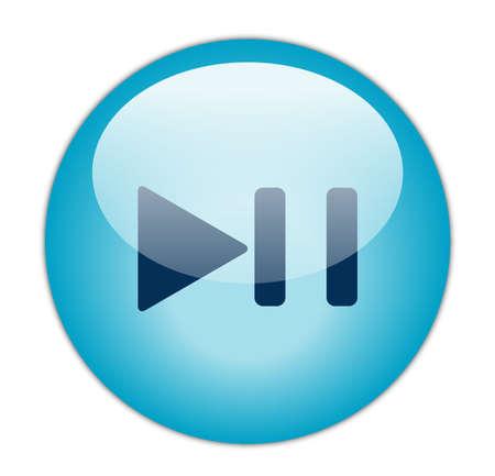Glassy Aqua Blue Play Pause Icon