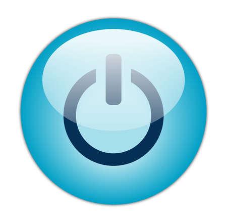 Glassy Aqua Blue Power Icon Stock Photo - 13614348