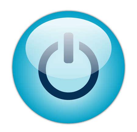 Glassy Aqua Blue Power Icon photo