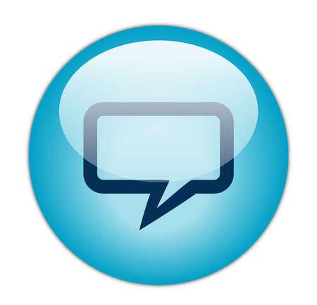 conversing: Glassy Aqua Blue Rectangular Chat Icon