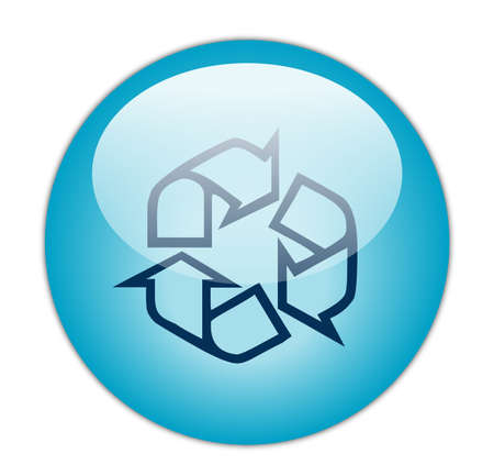 environmental awareness: Glassy Aqua Blue Recycle Outline Icon Button  Stock Photo