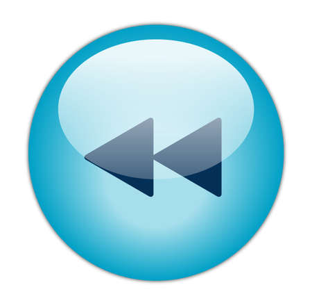 Glassy Aqua Blue Rewind Icon Stock Photo