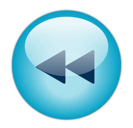 reverse: Glassy Aqua Blue Rewind Icon Stock Photo