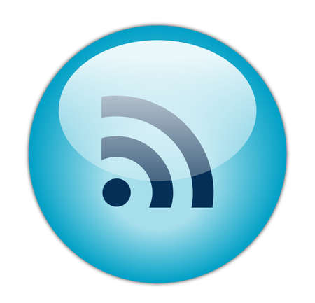 really simple syndication: Glassy Aqua Blue RSS Icon Button