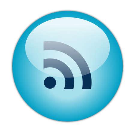 syndication: Glassy Aqua Blue RSS Icon Button