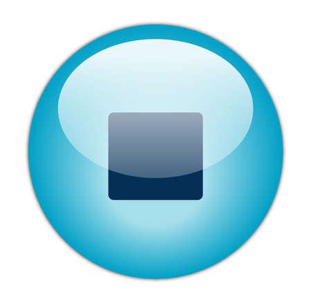 aqua icon: Glassy Aqua Blue Stop Icon Stock Photo