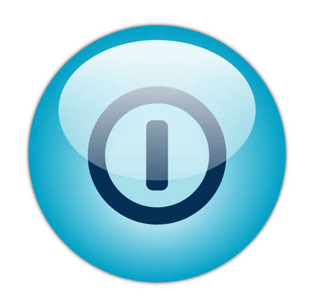 Glassy Aqua Blue Power Switch Off Icon  photo