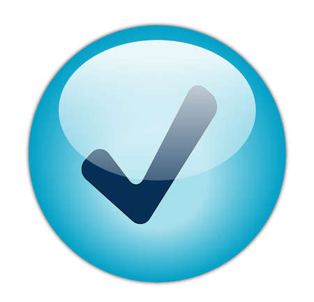 Glassy Aqua Blue Correct Icon Button photo