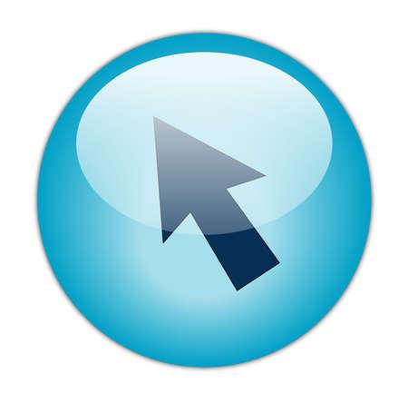aqua icon: Glassy Aqua Blur Cursor Icon Button Stock Photo