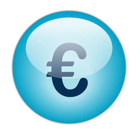 Glassy Aqua Blue Euro Icon Button photo