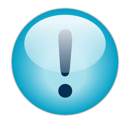 Glassy Aqua Blue Exclamation Icon Button photo