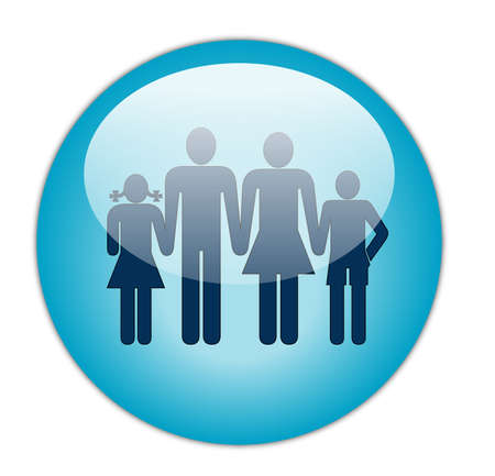 sphere icon: Glassy Aqua Blue Family Icon Button