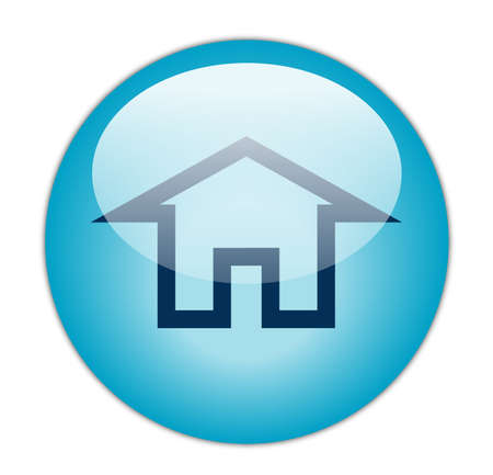 home button: Glassy Aqua Blue Home Icon Button