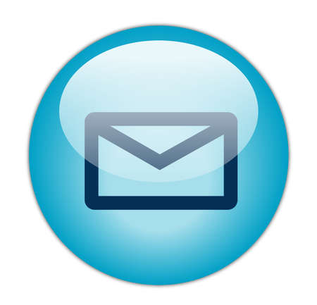 Glassy Aqua Blue Mail Icon Button photo