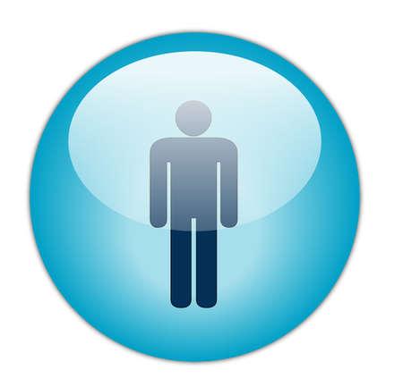 gents: Glassy Aqua Blue Gents Icon Butoon