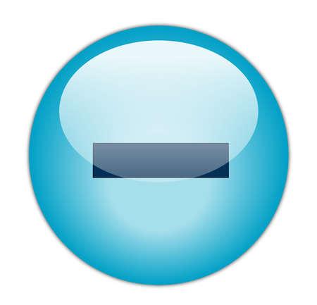 Glassy Aqua Blue Minus Icon Button