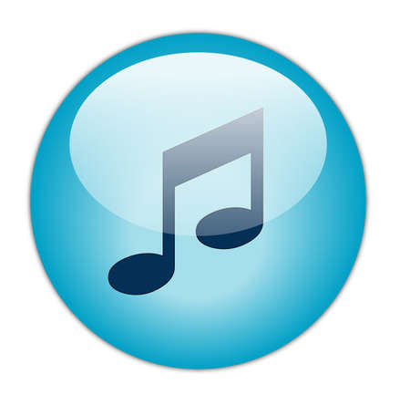 Glassy Aqua Blue Music Icon Button